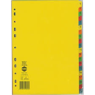 Regional Cardboard File Divider Index 1-20