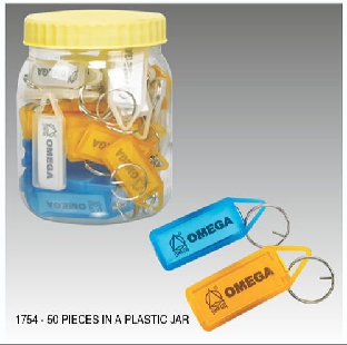 KCL,Plastic Key Chains With Name Tag,20 Pc/Pack, 1766 Omega