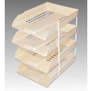 PP/S Plastic Office Tray W Riser, Set Of 4, Omega