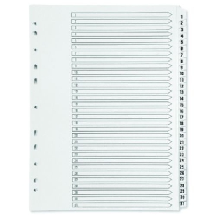 Pre-Punched PVC File Dividers, Index 1-31, A4, 31 Sheets/Set