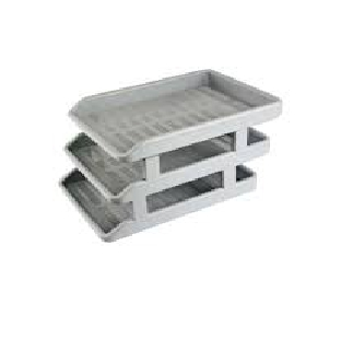 S Deluxe Plastic Office Tray W Riser,Grey,3/Set,1739 Omega