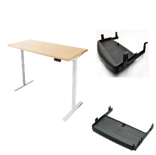 Height Adjustable Table with Dual Motor System With Keyboard Tray