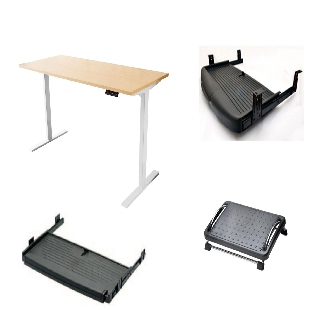 Height Adjustable Table with Dual Motor System With Keyboard Tray & Footrest